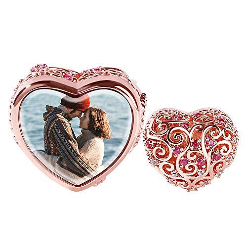 GNOCE Soulmate - Abalorio personalizado con forma de corazón, chapado en oro rosa de 18 quilates, cuentas con piedra roja personalizadas, para pulseras, collares y colgantes de plata de ley 925