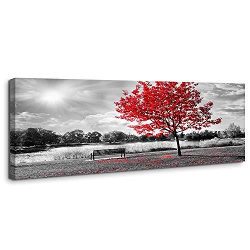 Visario Bild 120 x 40 cm auf Leinwand 5747 roter Baum, deutsche Marke und Lager - Die Bilder/Das Wandbild/der Kunstdruck ist fertig gerahmt