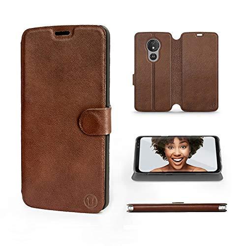 Mobiwear | Echt Lederhülle | Kompatibel mit Motorola Moto G7 Power, Made in EU handyhülle, Slim Leather Hülle, Premium Flip Schutzhülle, Transparent TPU Silicon, Book Style, Tasche - Braunes Leder