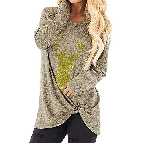 TWIFER Damen Weihnachtsbaum Elch Skew Neck Off Shoulder Gestrickte Botton Sweater
