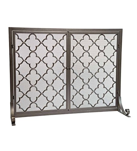 Plow & Hearth Large Steel Geometric Fireplace Screen with Doors, Durable Frame and Metal Mesh, 44 W x 33 H, Bronze