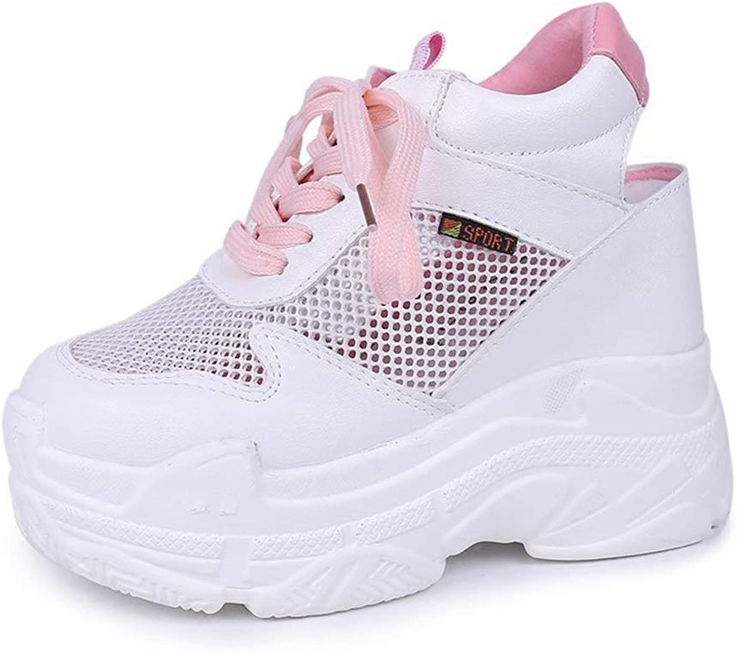 Hoxekle Casual shoes Women Air Mesh Breathable Platform Wedge Heels shoes 12cm Summer Sneakers