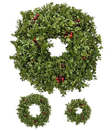 RED DECO Spring Wreaths for Front Door 20 + 16 Inch, Artificial Green Boxwood Berry Indoor Outside Wreath for Holiday Home Rustic Farmhouse Wall Decor