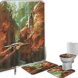 Juego de cortinas baño Accesorios baño alfombras Mundo de fantasía Alfombrilla baño Alfombra contorno Cubierta del inodoro Nave espacial en el fondo del faro de la cascada y el paisaje de fantasía de