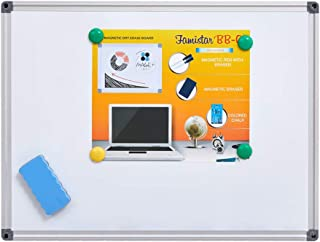 Magnetic White Board, Small Dry Erase Board 12'' x 16'', Aluminium Frame White Board with 4 Magnets, 1 Eraser. (12x16 inch)