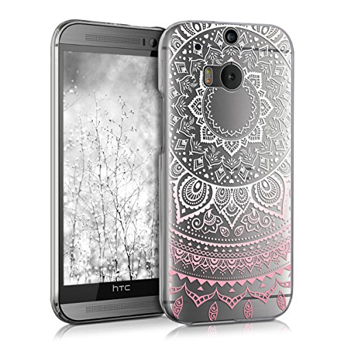 kwmobile HTC One M8 / Dual Hülle - Handyhülle für HTC One M8 / Dual - Handy Case in Indische Sonne Design Rosa Weiß Transparent