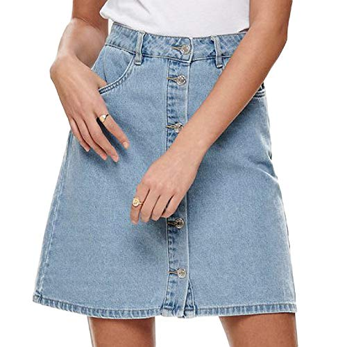 ONLY NOS Damen Onlfarrah Reg Dnm Skirt Bj14427 Noos Rock Blau (Light Blue Denim), 42 (Herstellergröße:42.0)
