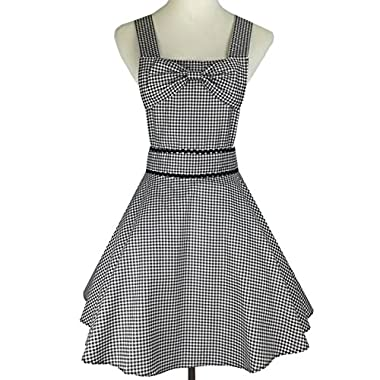 Lovely Retro Apron for Women Super Cute and Flirty Funny Bowknot with 2 Pockets Adjustable Straps Cotton Classic Striped Plaid Big Wave Skirt Black Gray