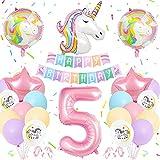 Unicornio Globos Cumpleaños 5 Año, Cumpleaños Unicornio Decoracion Pastel, Globo Grande Número 5, Globos Helio de Unicornio Enormes, Suministros Fiesta Unicornio para 5 Años Fiesta Cumpleaños Niñas
