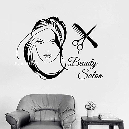 Creative Art Vinyl Pegatina de pared Nuevo salón de belleza logo chica etiqueta de la pared moda tijeras de corte de pelo para damas corte de pelo 68x50cm