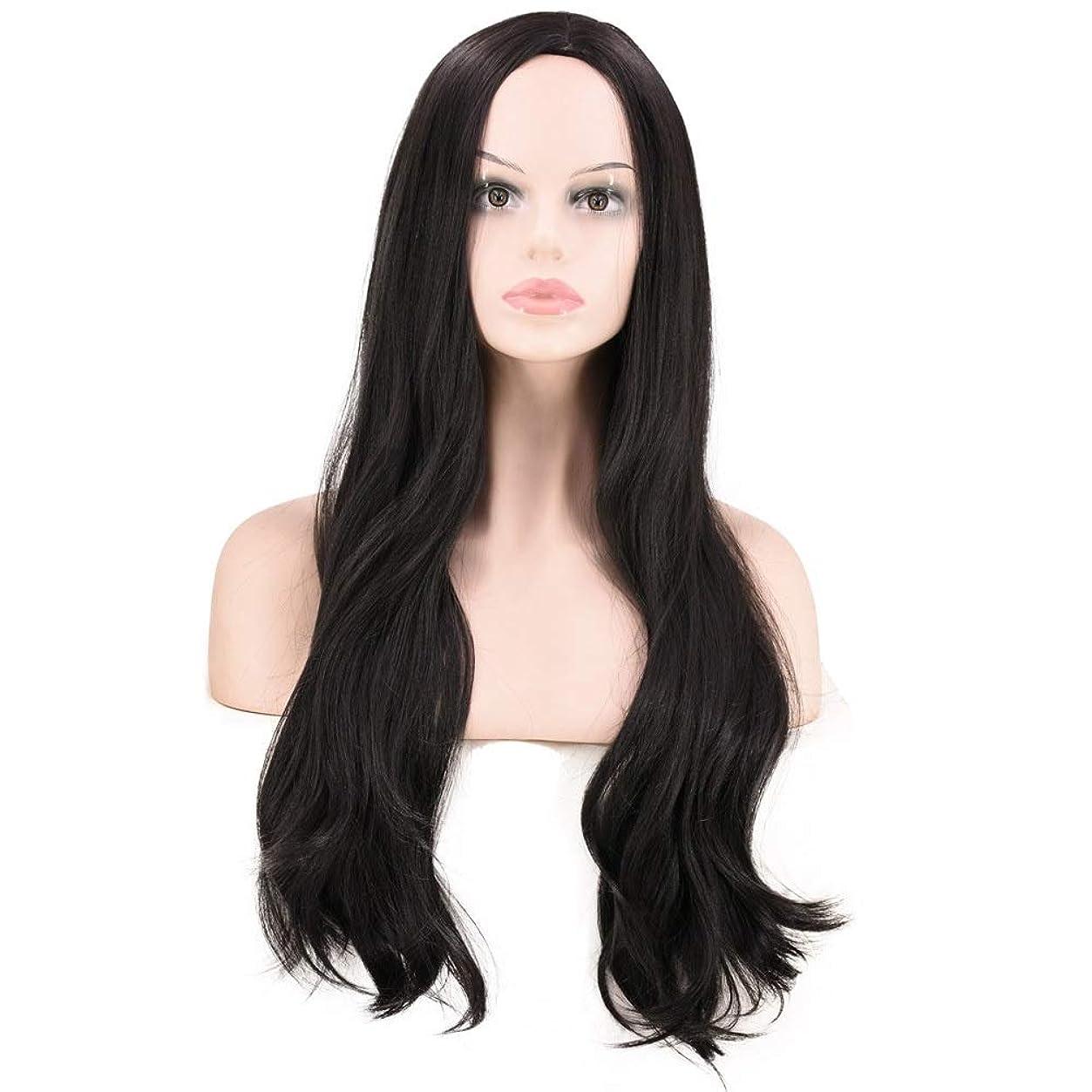 デコラティブレコーダー安定Yrattary 女性のための自然に見える黒の長い巻き毛のかつら耐熱性繊維複合毛レースのかつらロールプレイングかつら (色 : 黒)