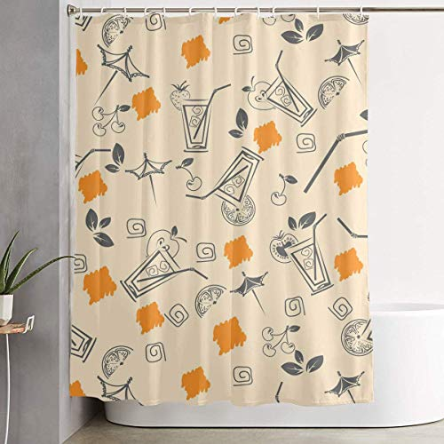 LongTrade Duschvorhang Apricot Drink Summer Beach Decoration Ornament for Bathroom Shower Curtain Shower Room Home Print Pattern Set 60x72 inch