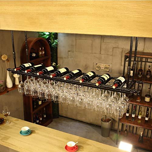 CHINESS Botelleros De Techo para Vino Botellero Soportes para Copas Sostenedor del Cubilete Colgando Estante del Vidrio De Vino Bar Bastidores De Stemware La Que Cuelga Almacenamiento Estante