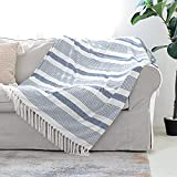 Decorative Blue White Striped Throw with Fringe, Soft Chenille Knitted Farmhouse Lightweight Blanket with Tassels for Couch Sofa Chair Bed Office Home Décor, Blue and Ivory, 50' x 60'