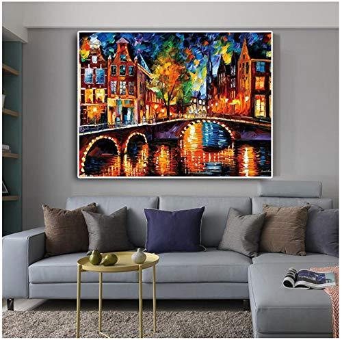 Kleurrijk abstract mes Landschap Rue Lac Art poster en graveren, olieverfschilderij, op canvas, foto, voor woonkamer, 70 x 140 cm, geen lijst