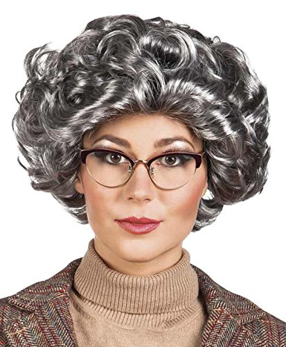 Grandma Granny Wig Curly Wig Fancy Dress Wig Grey