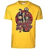 Customized by S.O.S Machine on Duty - Camiseta para hombre amarillo S