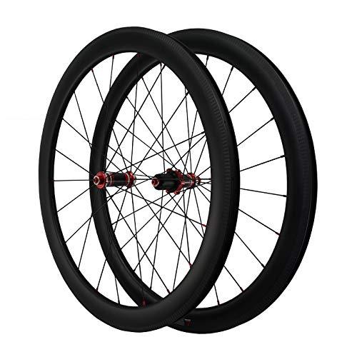 LICHUXIN Oksmsa Fibra Carbon 700C Bicicleta De Carretera Juego De Ruedas 50MM Borde C/V Freno 7/8/9/10/11/12 Velocidad Casete Liberación Rápida 1590g Llantas Aleación (Color : Black)