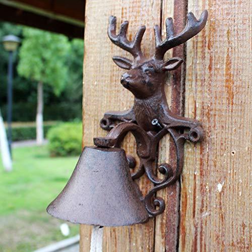 XXHDEE gietijzeren elandgewei deurbel bel bel Frans antieke smeedijzeren wanddecoratie tuin rammel 14x13,6x24,4 cm gietijzer deurbel