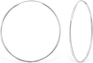 DTPsilver - Damen - Groß Creolen -Ohrringe 925 Sterling Silber - Dicke 1.2 mm - Durchmesser 60 mm