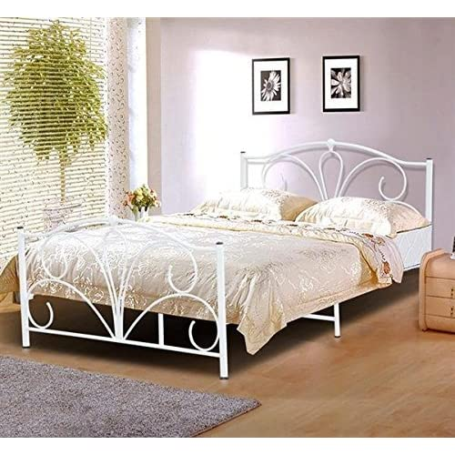 176d44296498 Popamazing® Modern 4ft6 Double Metal Bed Frame White Queen Size Double Bed  Frames Steel