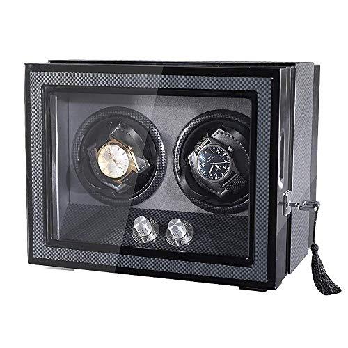 GLXLSBZ Enrollador de Reloj Individual con Tapa y Almacenamiento, enrollador de Reloj automático Relojes Dobles para 2 Relojes con silencioso Motor Mabuchi Lámpara LED incorporada Caja de Reloj A1
