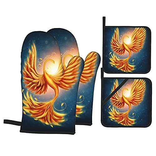 Firebird Magico Su Un Blu,Guanti da Forno e Set di Presine,4Pcs Resistenza al Calore Impermeabile Guanti Pastiglie per Cucina Cottura BBQ
