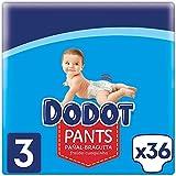 Dodot Pants Pañal-Braguita Talla 3, 36 Pañales, 6kg-11kg, Pañal-Braguita Con Ajuste 360° Anti-fugas