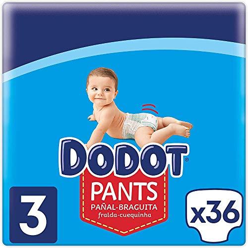 DODOT Pants Pañal-Braguita Talla 3, 6Kg-11Kg, Pañal-Braguita con Ajuste 360° Anti-Fugas, Blanco, 36 Pañales