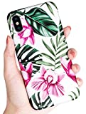 SUBESKING iPhone X Case / Xs Case,Cute Slim Fit Soft TPU White Floral and Green Leaves Pattern Protective Phone Cover for Women Girls (Pink Flowers)