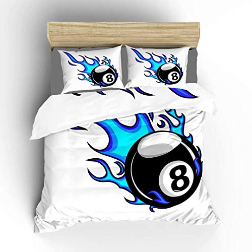 Aluy's boutique Double-Sided Billiards Pool Snooker 8 Ball with Simple Flames Soft Bedding Duvet Cover Set, Twin Size 2 Pieces with 1 Duvet Cover and 1 Pillowcase, Best Gift for Kids, Boys, Girls