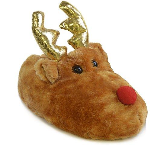 Slumberz Kids 3D Reindeer Novelty Boot Slippers Pixie Christmas (2/3)