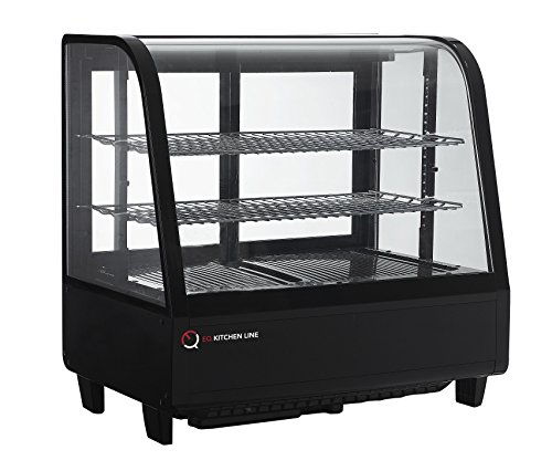 EQ Kitchen Line Black Commercial Refrigerated Countertop Bakery/Dairy Display Case, 26.85'L x 17.72'W x 26.57'H