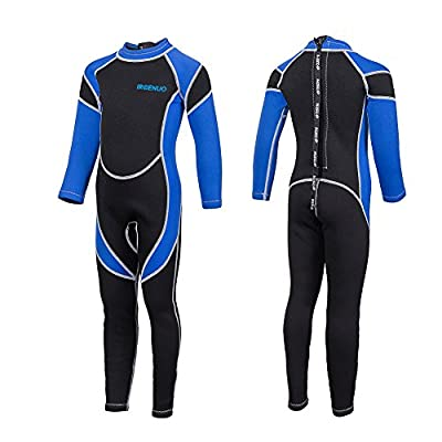 IREENUO Kids Wetsuit Neoprene 2.5mm Thick Long Sleeve One Piece UV Protection Sun Protection Sunsuit Wetsuit for Girls Boys