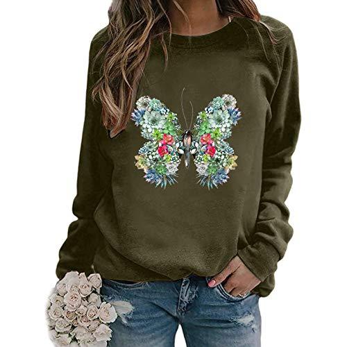 SEEGOU Sudadera para mujer con estampado de mariposas de colores y cuello redondo verde M