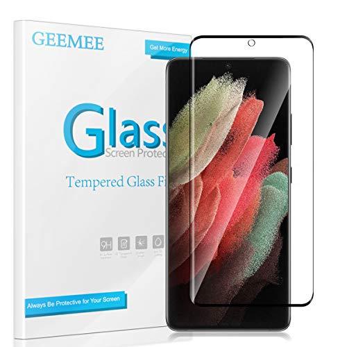GEEMEE Vetro Temperato per Samsung Galaxy S21 Ultra, Durezza 9H Protezione Schermo, Anti Graffi HD Trasparenza Protettiva Screen Protector Film -Black