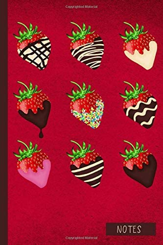 Notes Chocolate Covered Strawberries Notebook Journal Gift for Chocolate Lover Foodie Pastry product image