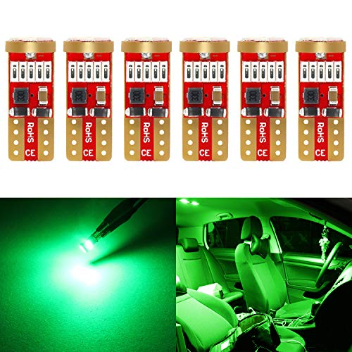 Phinlion 194 Green LED Bulb Super Bright 168 175 2821 T10 15-SMD 4014 Chipsets Wedge LED Replacement Bulbs for Dome Map Reading Courtesy Trunk Parking License Plate Lights, Pack of 6