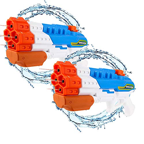 Water Guns for Kids AdultsSoaker(2Pack) 4 Nozzles Water Blaster High Capacity 1200CC Squirt Gun 30ft Water Pistol Water Fight Summer Toys Outdoor Swimming Pool Beach Water Toys for Kid&Adult (Blue)