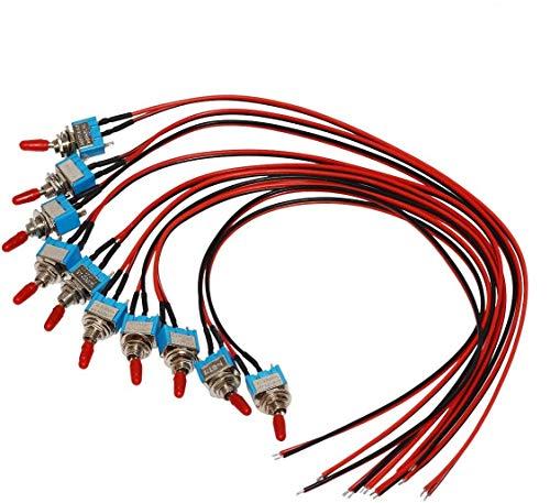 DONJON interruptor 12V,SPST de on/off con alambres previamente soldados,Interruptor de palanca de 3v/5v/12v/24v/72v/110v/220v/240v para luz,automóvil,camión, pernos 3 pin 2 posiciones(10 piezas)