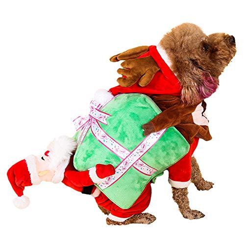Leobtain Disfraz de Gato de Perro Divertido de Navidad, Disfraz de Calabaza de Perro/Gato Regalo Disfraces de Perro de Navidad Disfraz de Ropa de Navidad de Papá Noel Divertido