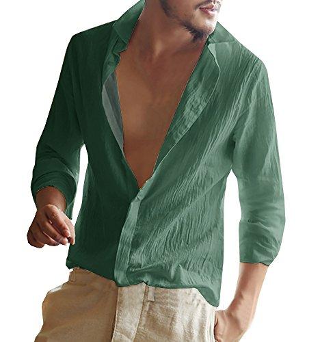 Gemijacka Herren Leinenhemd Langarm Herren Hemd Sommerhemd Herren Regular Fit Freizeithemd, Grün, L