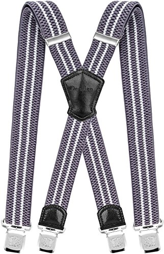 Decalen Hosenträger für Herren Breit 4 cm mit sehr Starken 4 Metall Clip Lang Einheitsgröße für Männer und Damen Einstellbar und Elastisch X Style (Silber Weiß)