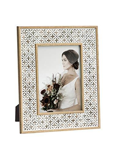 Afuly 13x18 Bilderrahmen Holz Weiß Braun Boho Marokko Shabby Retro Muster Deko Geschenk Wand oder Desktop