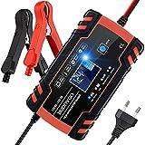 Chargeur de Batterie, BUDDYGO 12V 8Amp/24V 4Amp Booster Voiture Mainteneur Intelligent AVCE Écran LCD, Plusieurs Protections and 6 Modes Charge, pour Batterie de Voiture, Moto, Tondeuse à Gazon. Etc