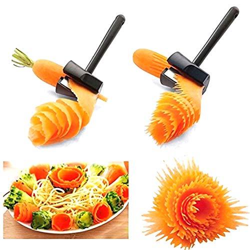 DULALA Gemüsemühlen Einfacher Karotten-Gurken-Lockenwickler Multifunktionaler Gemüsespitzer und -schäler Karotten-Julienne und Blumenmacher-Werkzeug für die Dekoration