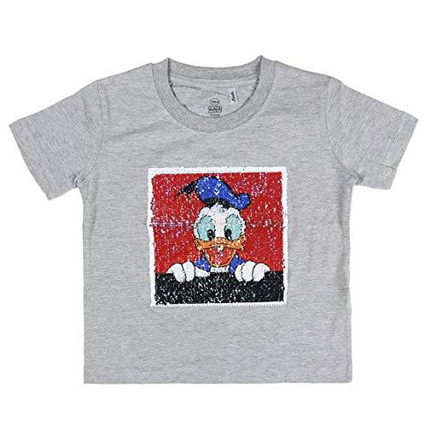 Cerdá Mickey Mouse Original Mickey & Donald de Lentejuelas de Color Gris-100% Algodon Camiseta, Gris, 3 años para Niños