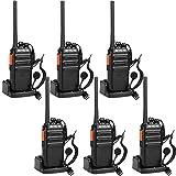 Retevis RT24 Plus Funkgerät, Walkie Talkie, PMR Funkgeräte, Lizenzfrei 16 Kanäle VOX CTCSS&DCS Wiederaufladbar Funkgeräte Set, mit USB Ladeschale und Headset IPx4 Wetterschutz (6 Stk., Schwarz)