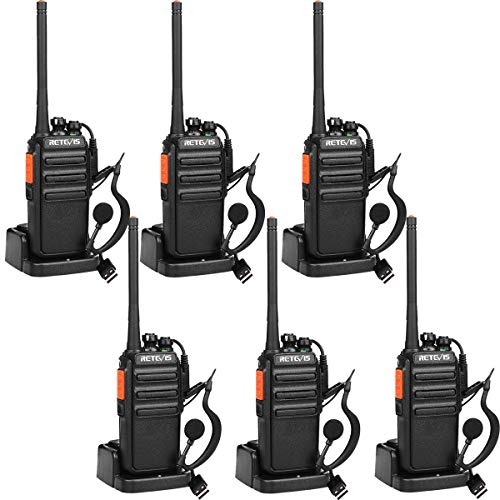 Retevis RT24 Walkie Talkie Profesionales PMR446 sin Licencia 16 Canales CTCSS DCS Walkie Talkie Recargable con Cargador USB Walkies Profesionales con Auriculars (3 Pares, Negro)