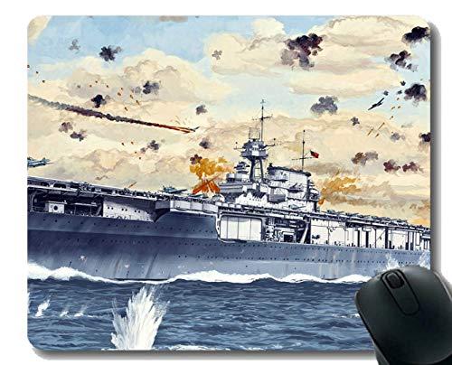 Mauspad mit genähtem Rand, Militär USS Yorktown (CV 5) Kriegsschiff-Mauspad, Rutschfeste Gummibasis Mousepad